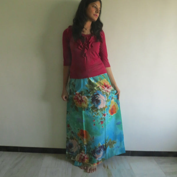 Aqua Floral Wrap Around Skirt