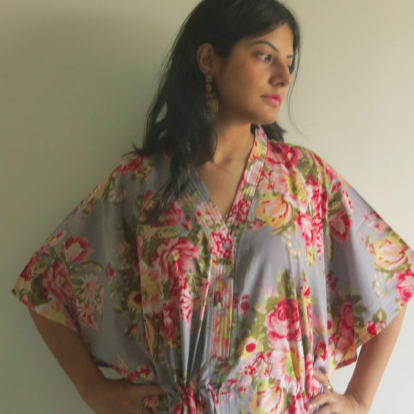 Gray Floral V-Neck Button Down to Waist, Ankle Length, Cinched Waist Caftan