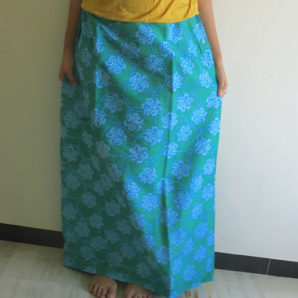 Teal Floral Wrap Around Skirt