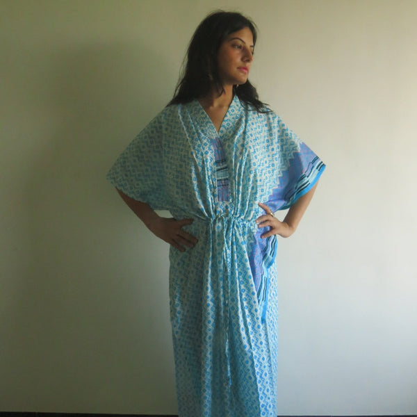 Light Blue Geometrical V-Neck Button Down to Waist, Ankle Length, Cinched Waist Caftan