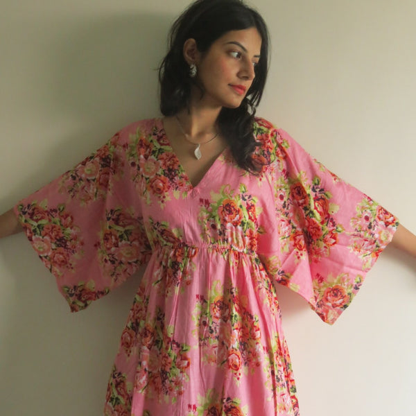 Floral Empire Waist Dress Butterfly Sleeves Maternity Kaftan