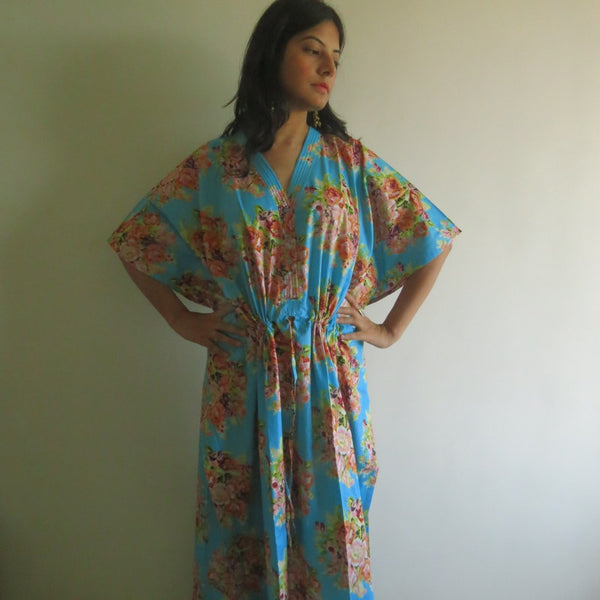 Blue Floral V-Neck Button Down to Waist, Ankle Length, Cinched Waist Caftan-C4 fabric Code