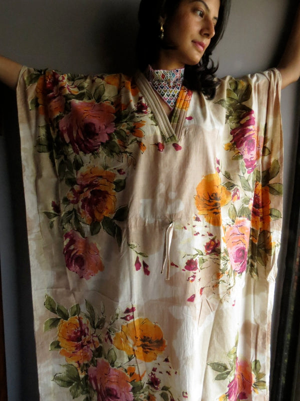 Cream Multicolor Big Flower V-Neck, Ankle Length, Cinched Waist Caftan-D2 fabric Code