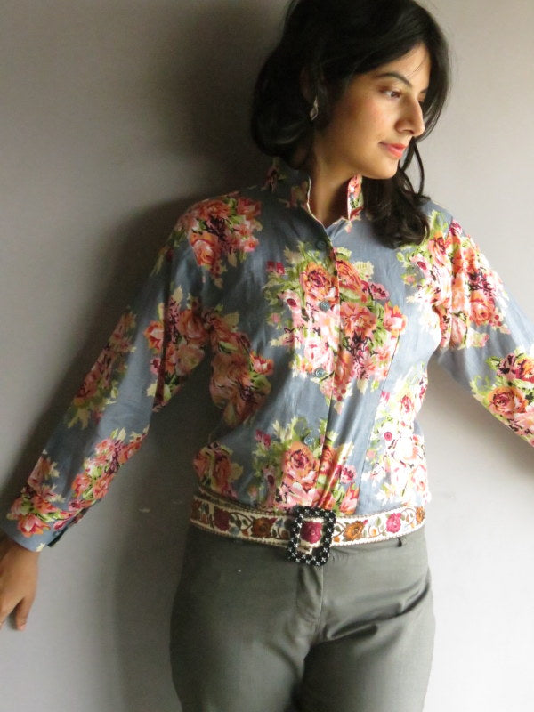 Gray Floral Buttoned Shirt