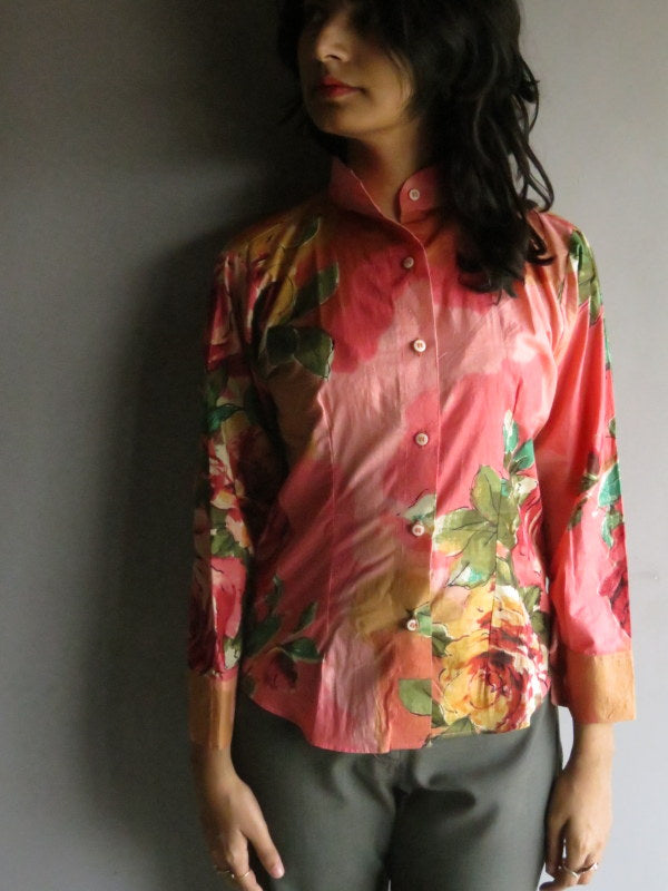 Coral Floral Buttoned Shirt