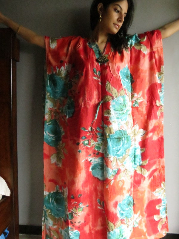 Red Teal Big Flower V-Neck, Ankle Length, Cinched Waist Caftan-B3 fabric Code