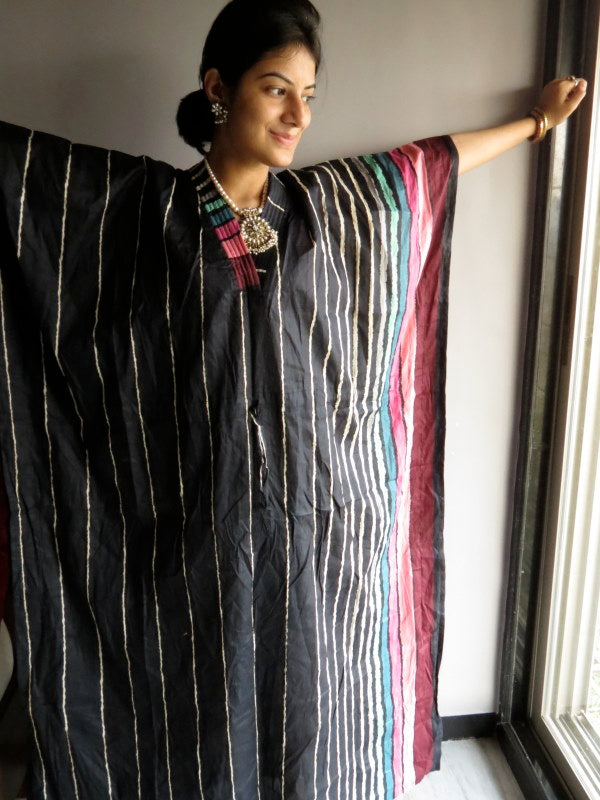 Black Stripes V-Neck, Ankle Length, Cinched Waist Caftan-I3 fabric Code