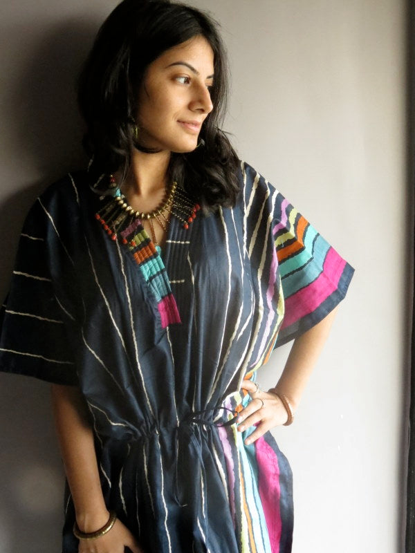 Dark Blue Stripes V-Neck, Knee Length, Cinched Waist Caftan-I1 fabric Code