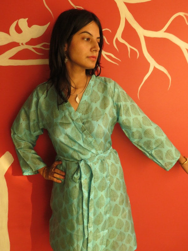 Silk Light Blue Leafy Knee Length, Kimono Crossover Belted Robe