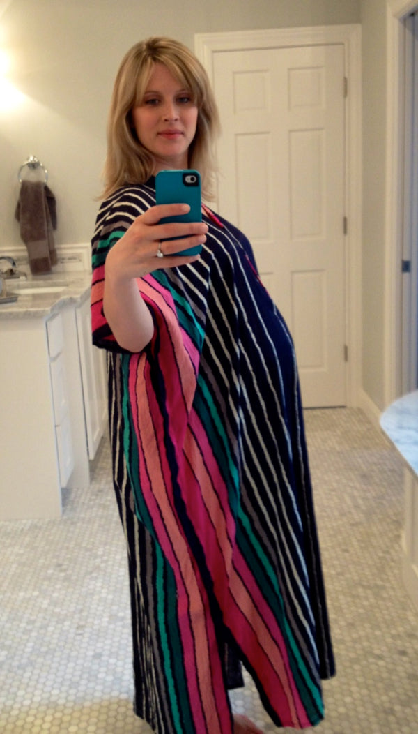 Dark Blue Stripes Front Buttoned Hospital Gown