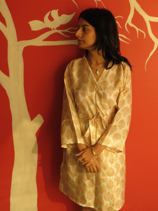 Ivory Leafy Silk Knee Length, Kimono Crossover Belted Robe