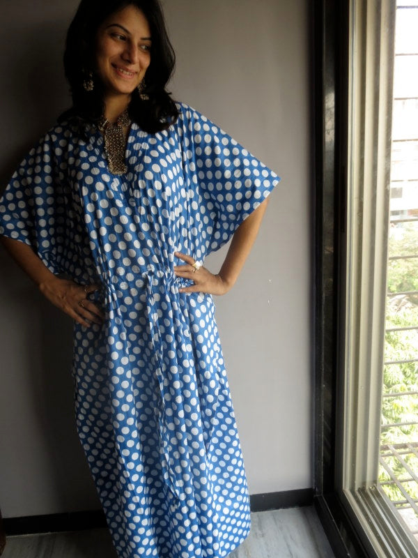 Blue White Polka Dots V-Neck, Ankle Length, Cinched Waist Caftan-R2 fabric Code