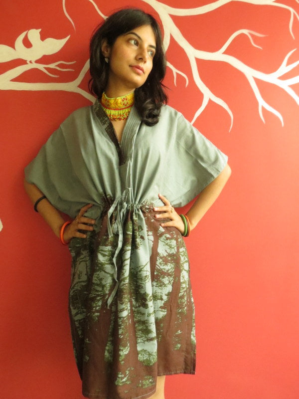 Gray Tree V-Neck, Knee Length, Cinched Waist Caftan-M1 fabric Code