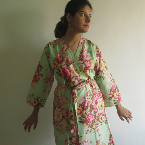 Mint Floral Knee Length, Kimono Crossover Belted Robe