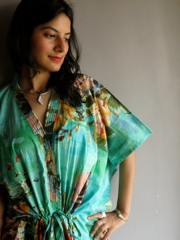 Aqua Multicolor Big Flower V-Neck Button Down to Waist, Ankle Length, Cinched Waist Caftan-D13 fabric Code