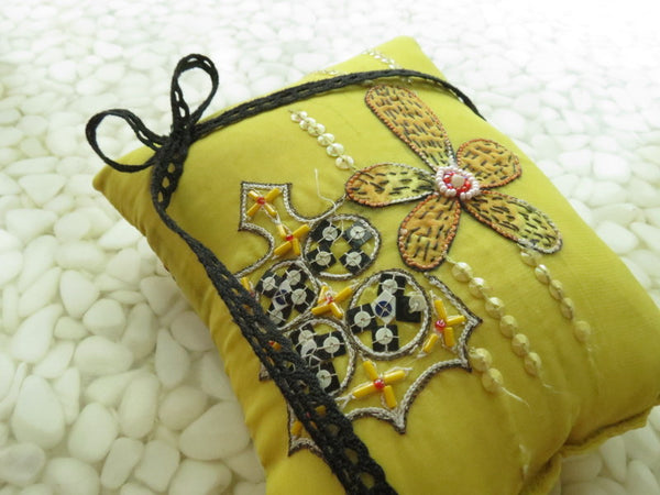 Beautifully detailed Embroidered Ring Bearer Pillow