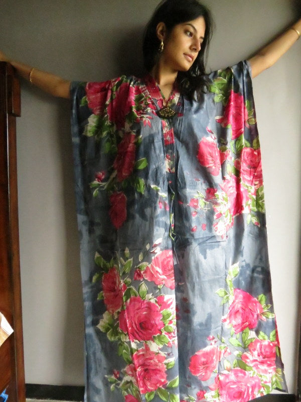 Gray Fuchsia Flowers V-Neck Button Down to Waist, Ankle Length, Cinched Waist Caftan-E5 fabric Code
