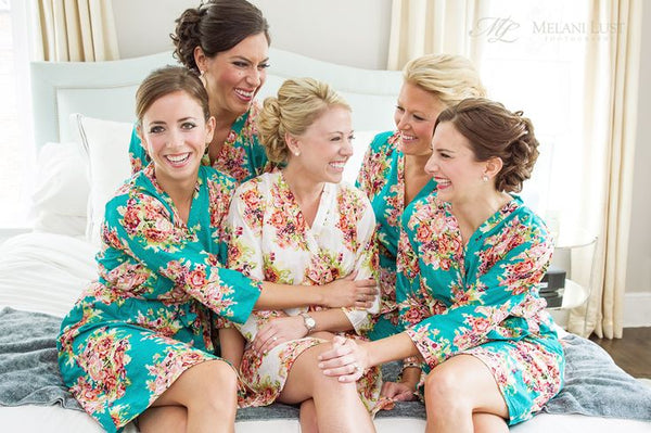 Teal Bridesmaids Robes|C series Collage|BRIGHT ROBES|PASTEL ROBES|SHALIMAR ROBES