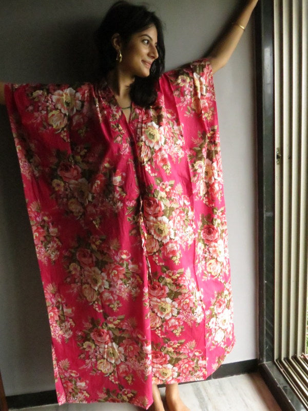 Magenta Floral V-Neck Button Down to Waist, Ankle Length, Cinched Waist Caftan-A6 fabric Code