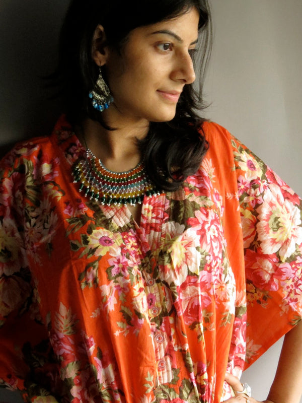 Orange Floral V-Neck Button Down to Waist, Ankle Length, Cinched Waist Caftan-A3fabric Code
