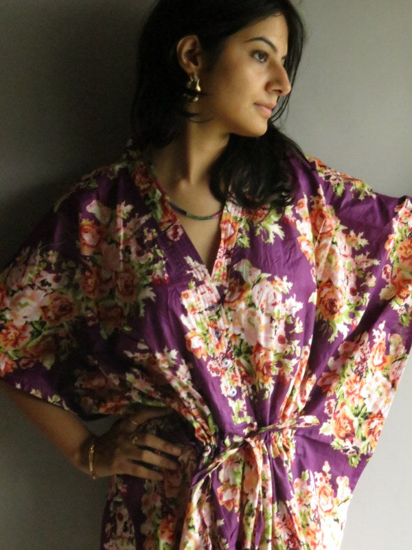 Purple Floral V-Neck Button Down to Waist, Ankle Length, Cinched Waist Caftan