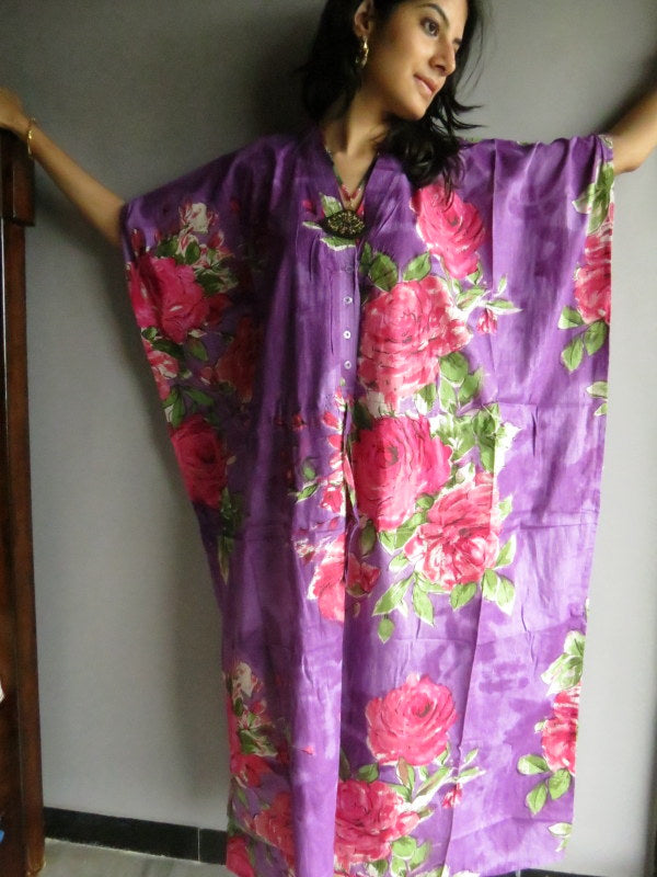 Purple Fuchsia Flowers V-Neck Button Down to Waist, Ankle Length, Cinched Waist Caftan-E11 fabric Code