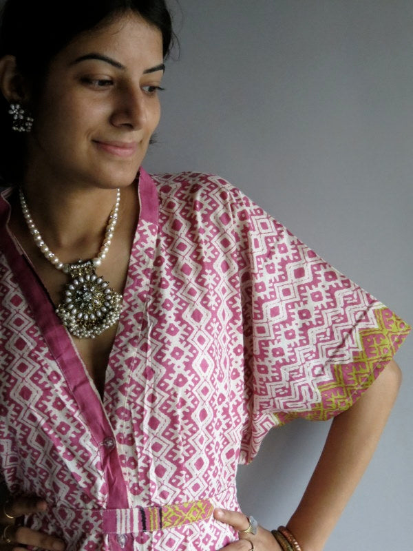 Pink Chevron Geometric V-Neck Full Button Down, Knee Length, Belted Caftan-H6 fabric Code
