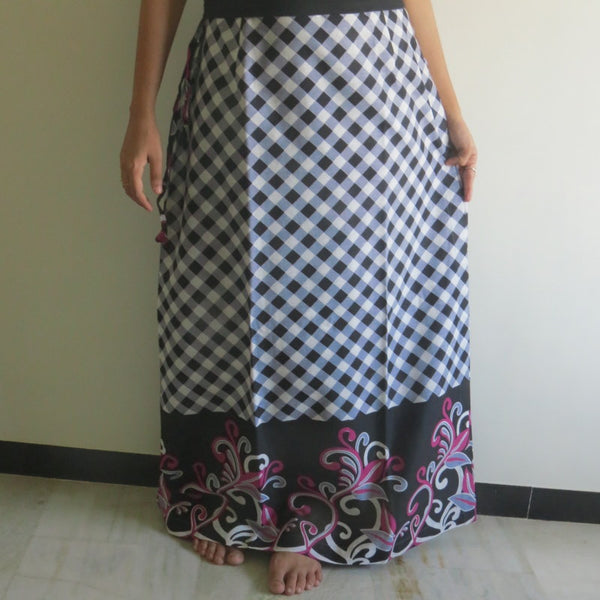 Gray Plaid Wrap Around Skirt