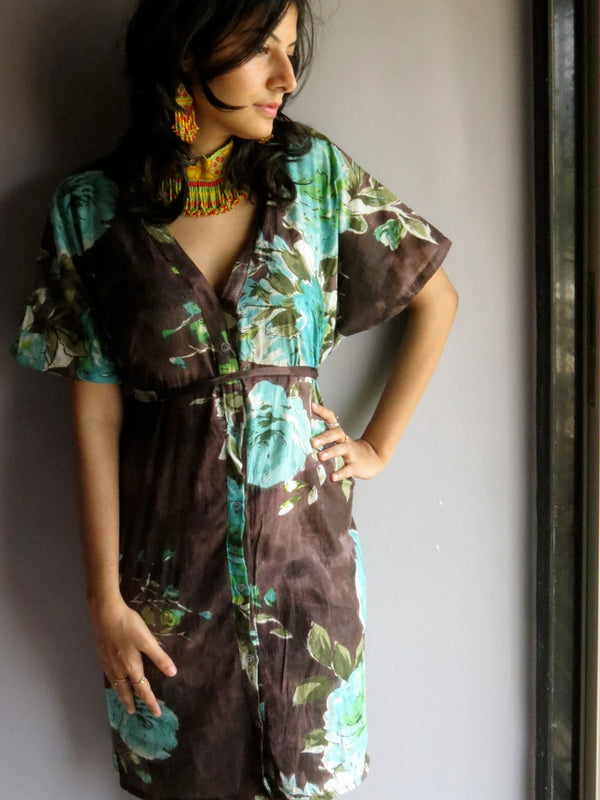 Brown Multicolor Big Flower V-Neck Button Down to Waist, Knee Length, Cinched Waist Caftan