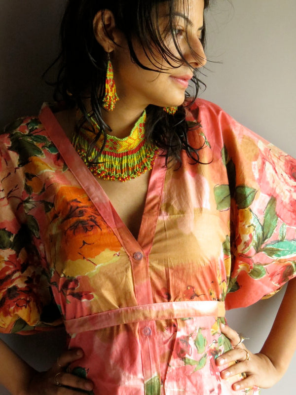 Coral Multicolor Big Flower V-Neck Button Down to Waist, Knee Length, Cinched Waist Caftan-D1 fabric Code