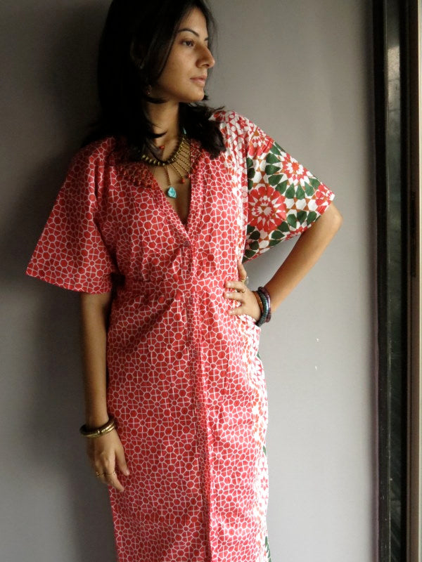 Sakura Red Green V-Neck Full Button Down, Ankle Length, Belted Caftan-PP1 fabric Code