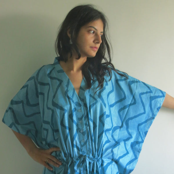 Teal Chevron V-Neck Button Down to Waist, Ankle Length, Cinched Waist Caftan-DD3 fabric Code