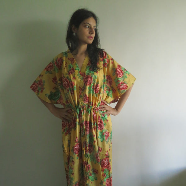 Yellow Red Floral V-Neck Button Down to Waist, Ankle Length, Cinched Waist Caftan-VV2 fabric Code