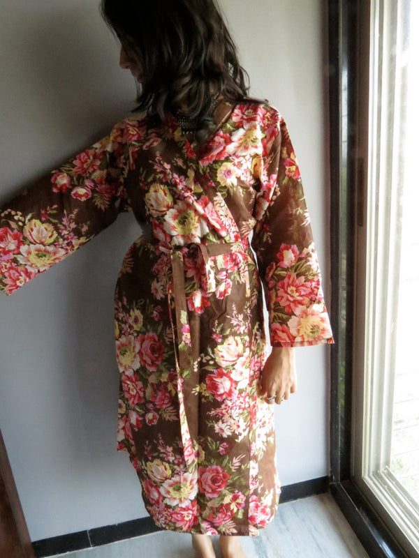 Brown Floral Ankle Length, Kimono Crossover Belted Robe-A2 fabric Code