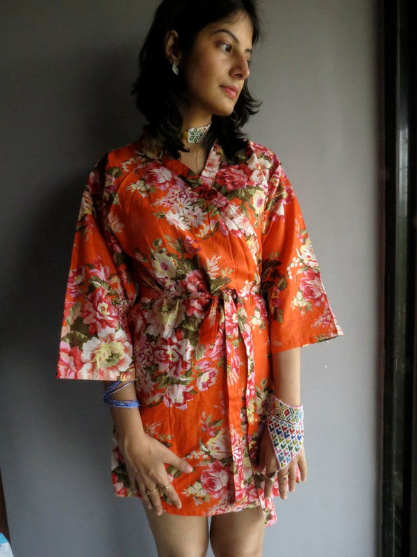 Orange Floral Knee Length, Kimono Crossover Belted Robe-A3 fabric Code