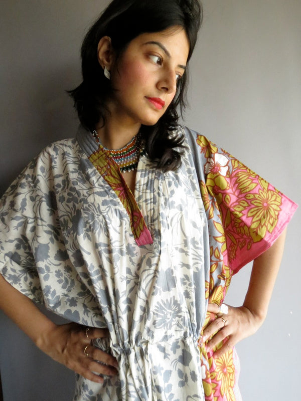 Gray Leafy V-Neck, Calf Length, Cinched Waist Caftan-F2 fabric Code