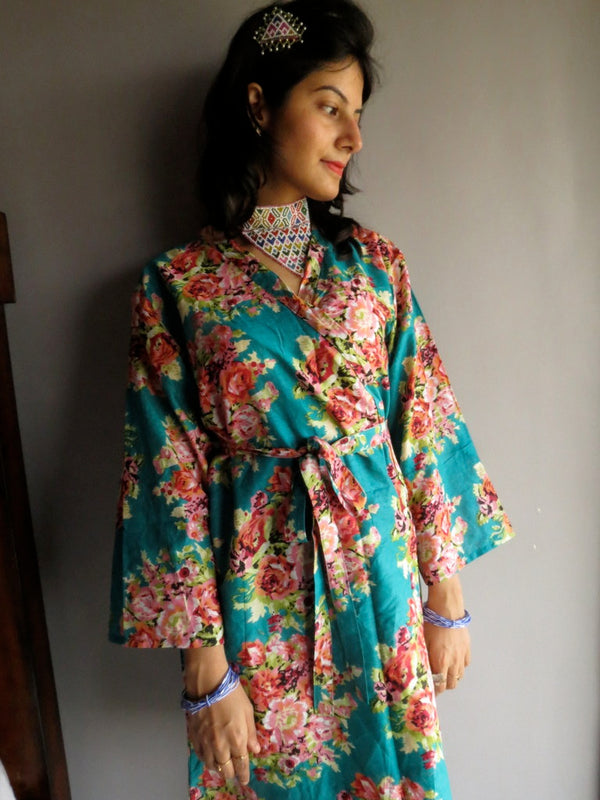 Teal Floral Knee Length, Kimono Crossover Belted Robe-C2 fabric Code