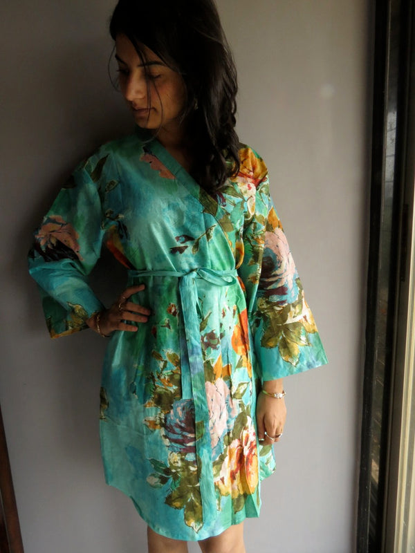 Aqua Floral Knee Length, Kimono Crossover Belted Robe-D13 fabric Code