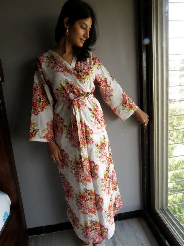 White Floral Ankle Length, Kimono Crossover Belted Robe-C7 fabric Code