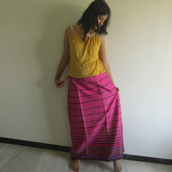 Magenta Striped Wrap Around Skirt