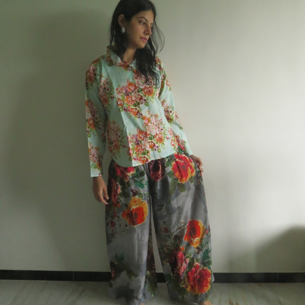 Gray Floral Wide Legged Elastic Pajamas