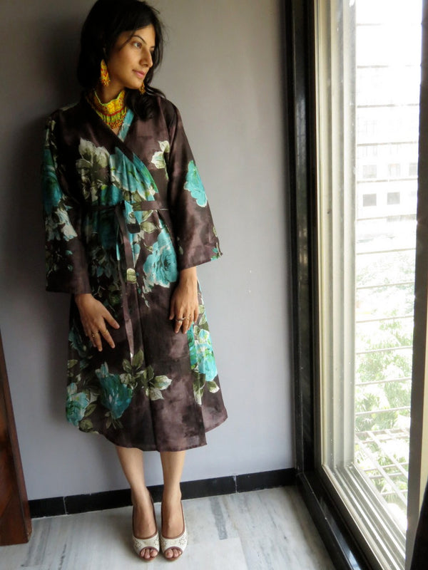 Brown Floral Knee Length, Kimono Crossover Belted Robe