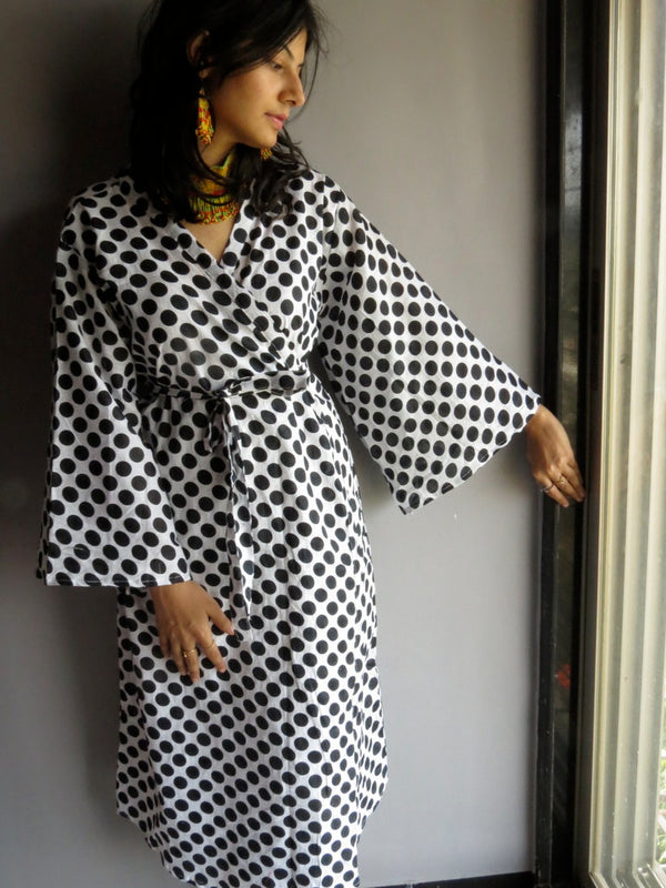 White Black Dots MidCalf Length, Kimono Crossover Belted Robe