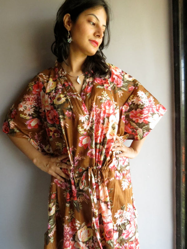 Brown Floral V-Neck, Ankle Length, Cinched Waist Caftan-A2 fabric Code