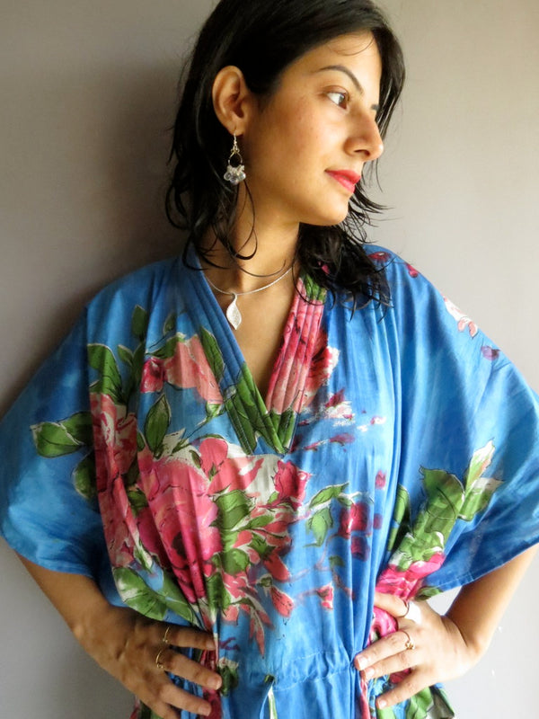 Blue Multicolor Big Flower V-Neck, Ankle Length, Cinched Waist Caftan-E2 fabric Code