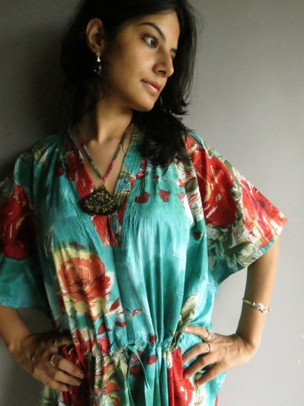 Teal Red Big Flower V-Neck, Ankle Length, Cinched Waist Caftan-B2 fabric Code