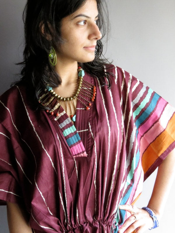 Burgundy Stripes V-Neck, Ankle Length, Cinched Waist Caftan-I4 fabric Code