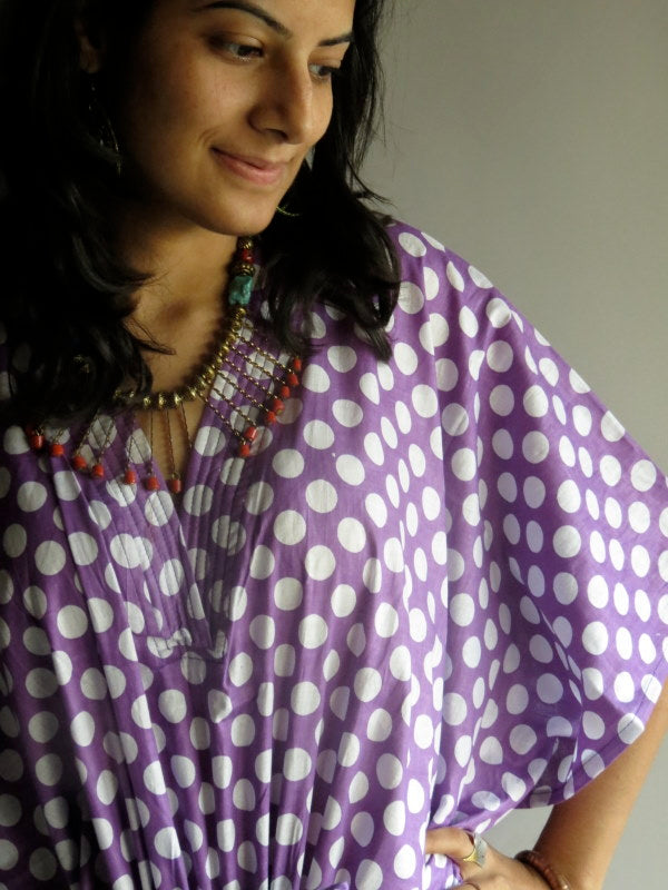 Lilac Polka Dots V-Neck, Ankle Length, Cinched Waist Caftan-R7 fabric Code