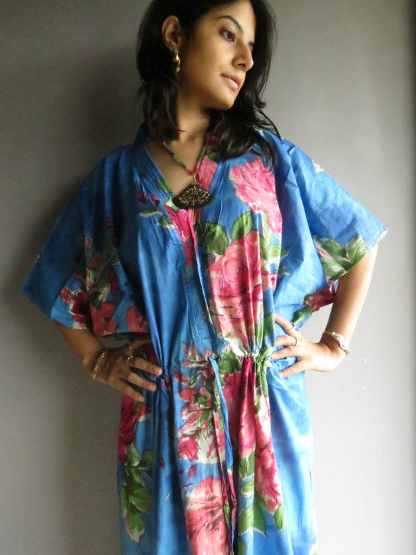 Blue Fuchsia Flowers V-Neck Button Down to Waist, Ankle Length, Cinched Waist Caftan-E2 fabric Code