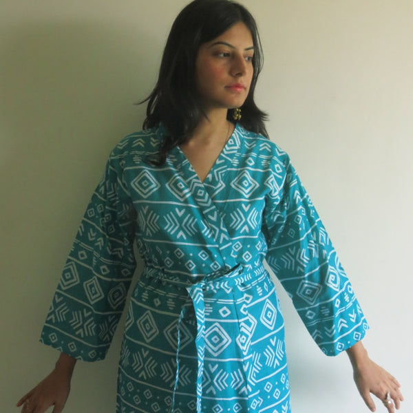 Teal Aztec Knee Length, Kimono Crossover Belted Robe